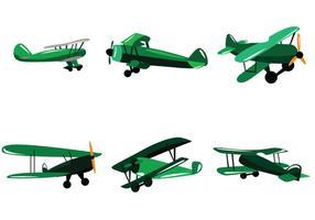 Vector de biplano verde