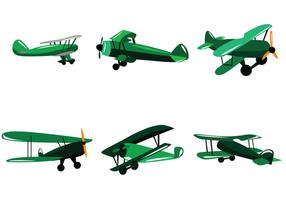 Green Biplane Vector