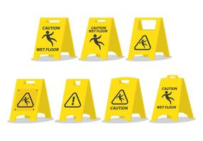 Wet Floor Caution Board vector