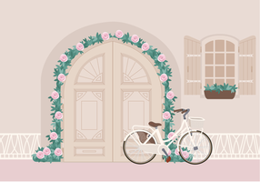 Vector Beautiful Bike at Door Illustration