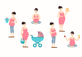Pregnant mom vector illustration
