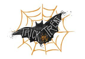 Trick or Treat Bat Akvarell Vector