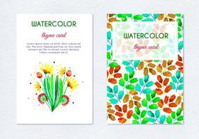 Cartões florais de flores de ervas desenhadas à mão de vetor livre