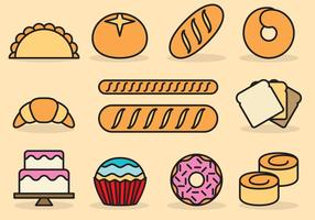 Cute Bread Icons vector