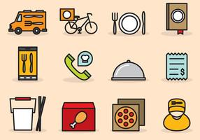 Cute Food Delivery Icons vector