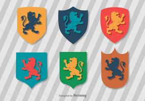 Flat Lion Rampant Vector Set
