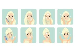 Free Basic Step Women Face Toner Vector