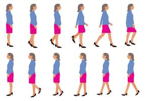 Free Woman Walking Cycle Vector