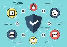 Fundo de vetores de elementos da Web de segurança