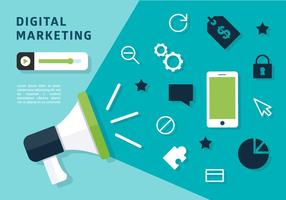 Vector de Megafone de Marketing Digital Gratuito