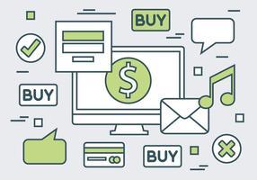 Fondo di vettore del sito Web lineare di acquisto online