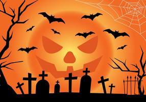 Paisaje de Halloween de la luna de la Jack-o-linterna