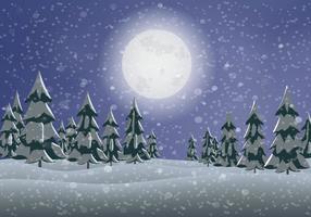 Vetor de paisagem de pinheiro nevado