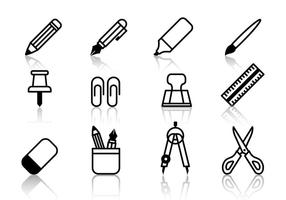 Student Stationery Icons Vector
