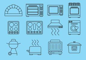 Line Kitchen Items Icons