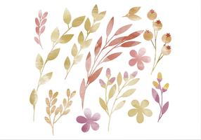 Vector Waterverf Bloemen Elementen