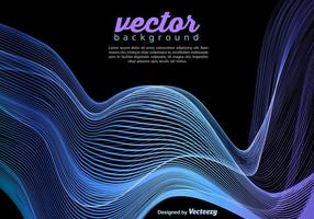 Vector Blue Wave Template On Black Background