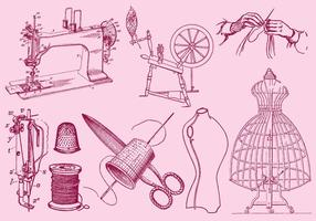 Fashion And Sewing Drawing vector