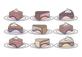 Tranches de gâteau de vecteur