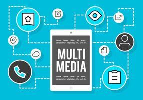 Fondo de vectores gratis de iconos multimedia