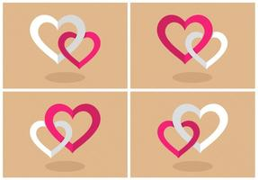 Flat Combined Hearts Vector