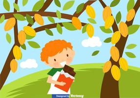 Free Kid Eating Chocolate Vector Illustration