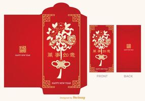 Gratis Chinese Red Packet Vector Sjabloon