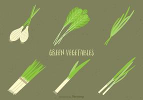 Conjunto de vectores de verduras verdes gratis