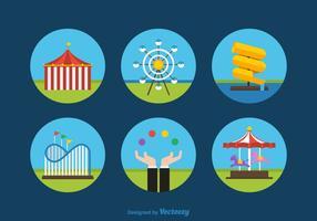 Iconos libres planos del parque de atracciones del vector