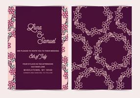 Invitation de mariage de vecteur de couronne de fleurs