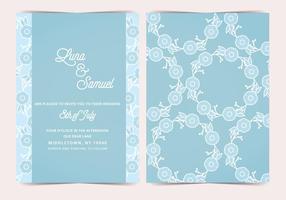 Blå blomma vektor bröllop inbjudan