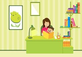 Mom And Child Study Vector Art