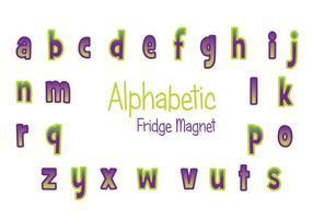 Purple and Green Fridge Magnet Vector Set