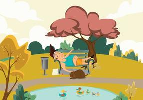 Tired Runner in Park Vector