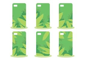 Green Jungle Phone Case Pattern Vector Set