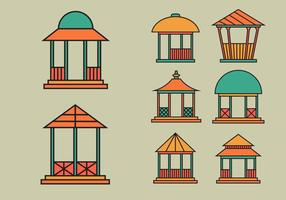 Gazebo icon vector pack