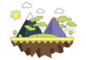 Paysage vectoriel de montagne foretée