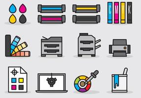 Cute Printing Icons vector