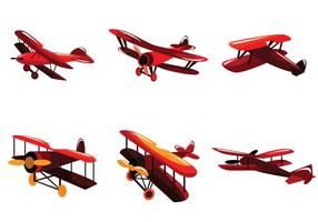 Bright Red Biplane Vector