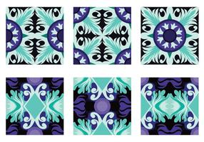 Teal e Purple Portuguesse Tile Vector