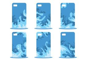 Blue Abstract Phone Case Modèle Vector Set