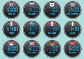 Digital International Clocks