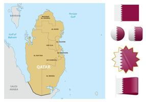 Qatar Map And Flags vector