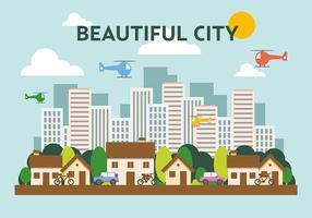 Suburbano, plano, Cityscape, vetorial, Ilustração