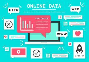 Ilustração em linha livre do vetor dos dados em linha