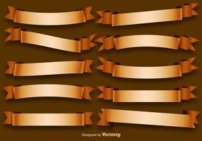 Vector Set Of Golden Ribbons