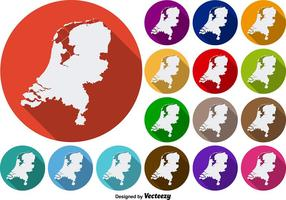 Netherlands State Silhouettes Vector Colorful Icon Buttons