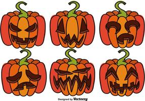 Set Of Cartoon Halloween Pumpkins
