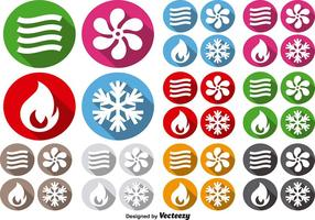 HVAC Icons Climate Control Technology Vector Signs