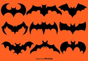 Vector Set Of Black Bat Silhouettes